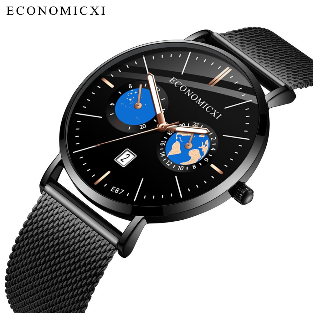 ECONOMICXI Fashion Casual Quartz Men Watch Waterproof Ultra Thin Mens Watches Top Brand Luxury Sports Wrist Watches For Men Cloc(China)