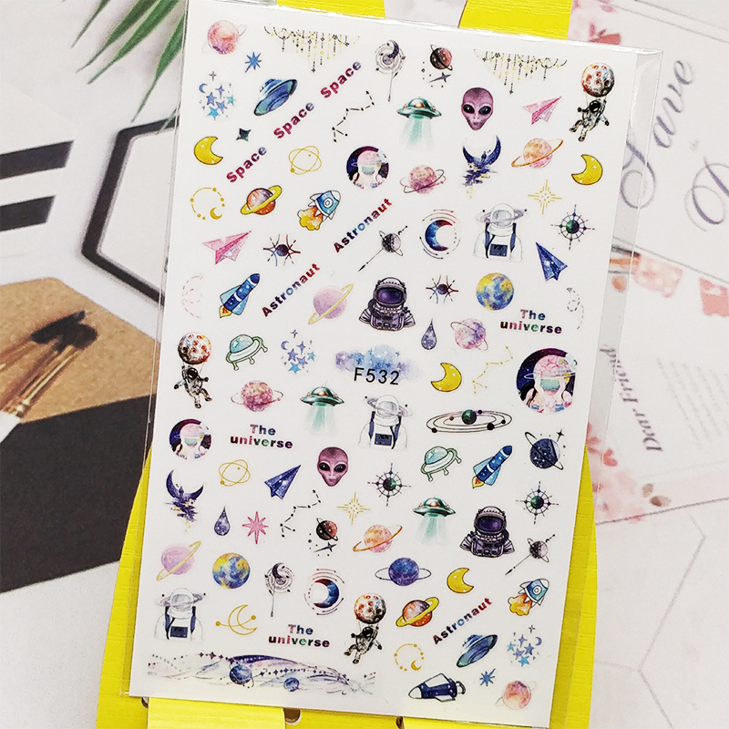 3D Nail Sticker Decals Space Planet Alien Design Nail Art Decorations Stickers Sliders Manicure Accessories Nails Decoraciones