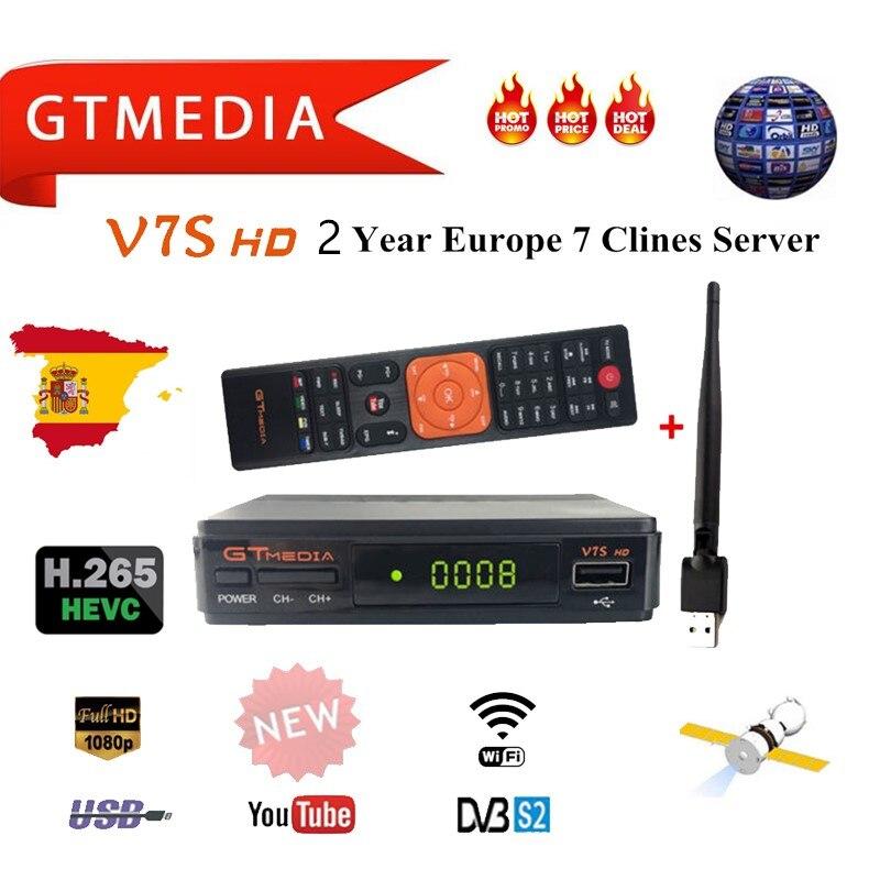 2 Year Europe 7 Clines Server GTMedia V7S HD Digital Satellite Receiver DVB-S2 V7S HD Full 1080P+USB WIFI Upgrade Freesat V7