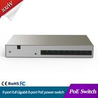 Network Switch 9 port full Gigabit 8 port PoE power switch 102W poe power support one key Vlan