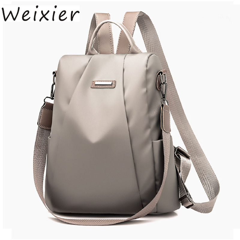 Laptop Backpack Nylon Computer Backpack Waterproof Student Bag Black 28x13x34cm