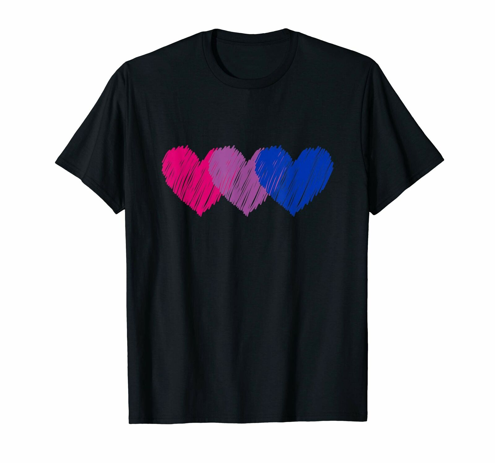 Black <font><b>Bisexual</b></font> Flag Hearts Love <font><b>Shirt</b></font> Lgbt Bi Pride T-<font><b>Shirt</b></font> 100% Cotton Oversized Tee <font><b>Shirt</b></font> image