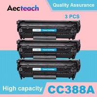 Aecteach 3 PCS 388A 88A Cartucho de Toner para HP LaserJet Compatível para HP388A 88A P1007 P1008 P1106 P1108 M1136 M1213nf M1216nfh