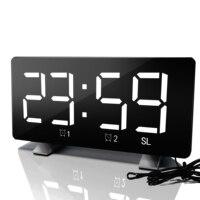 Radio Alarm Clock Curved Double Alarm Cock Clock Large LED Display Adjustable Child Volume Creative Snooze Electronic Clock