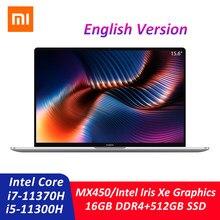 Xiaomi mi portátil pro 15 intel core i7-11370H/i5-11300H 16gb ddr4 512gb ssd 3.5k oled 15.6 Polegada portátil 100% srgb impressão digital pc