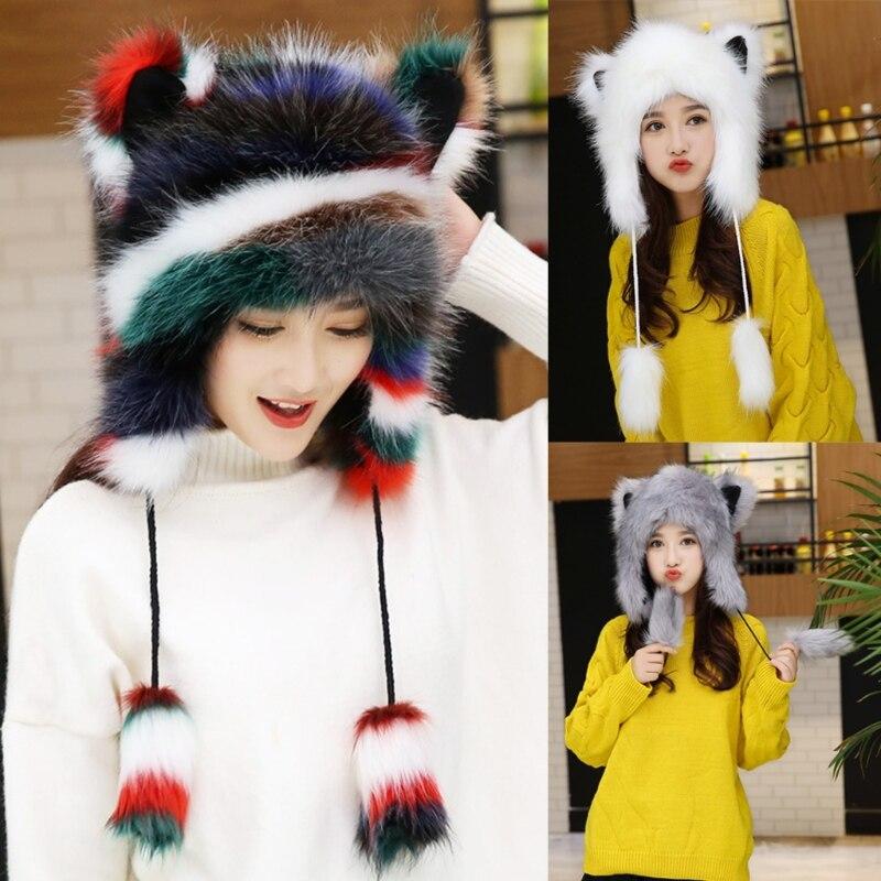 Fluffy Furry Thermal Warm Trapper Hat Cute Cat Ears Plush Animal Earflap Cap
