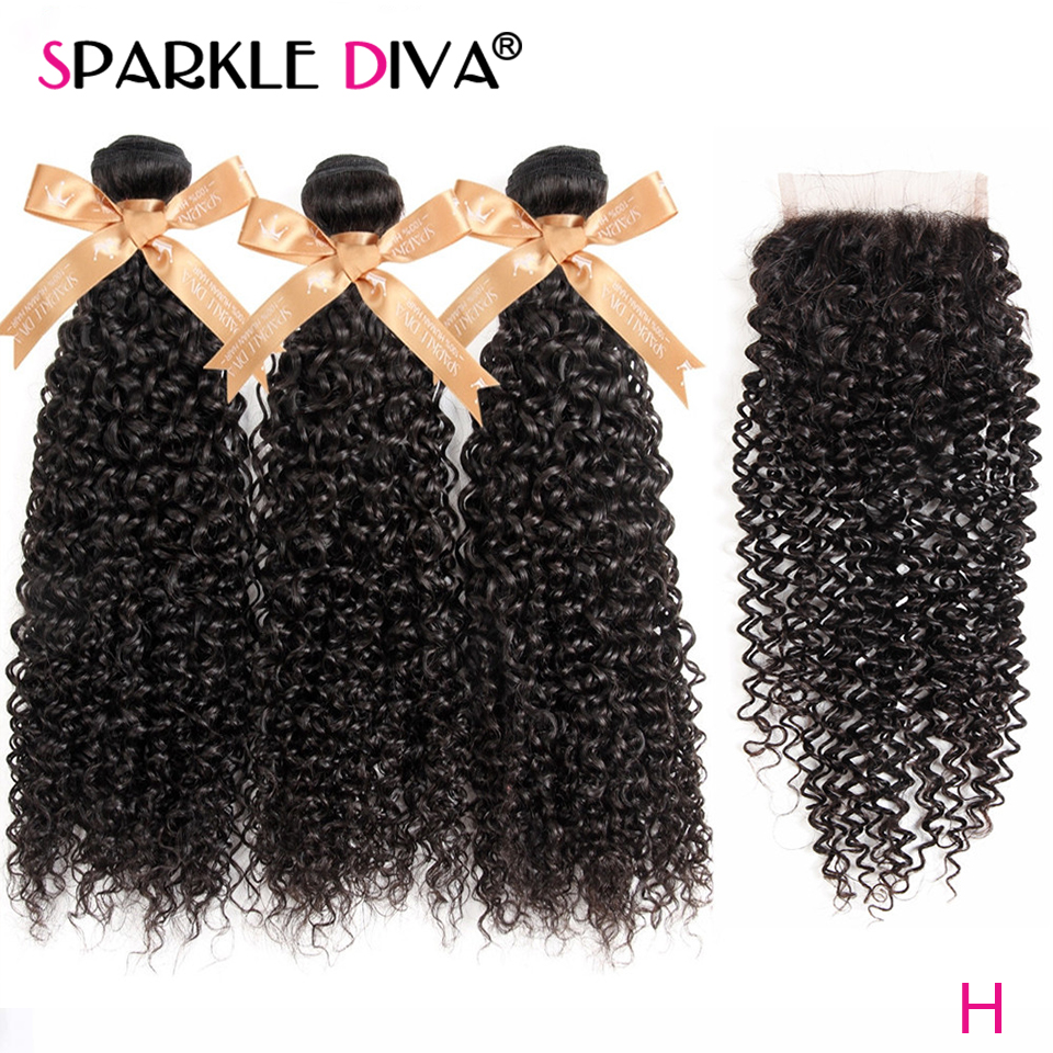 Kinky Curly Bundles With Closure 3 Human Hair Bundles With Closure Free Part Brazilian Human Hair Weave Bundles Non Remy Hair