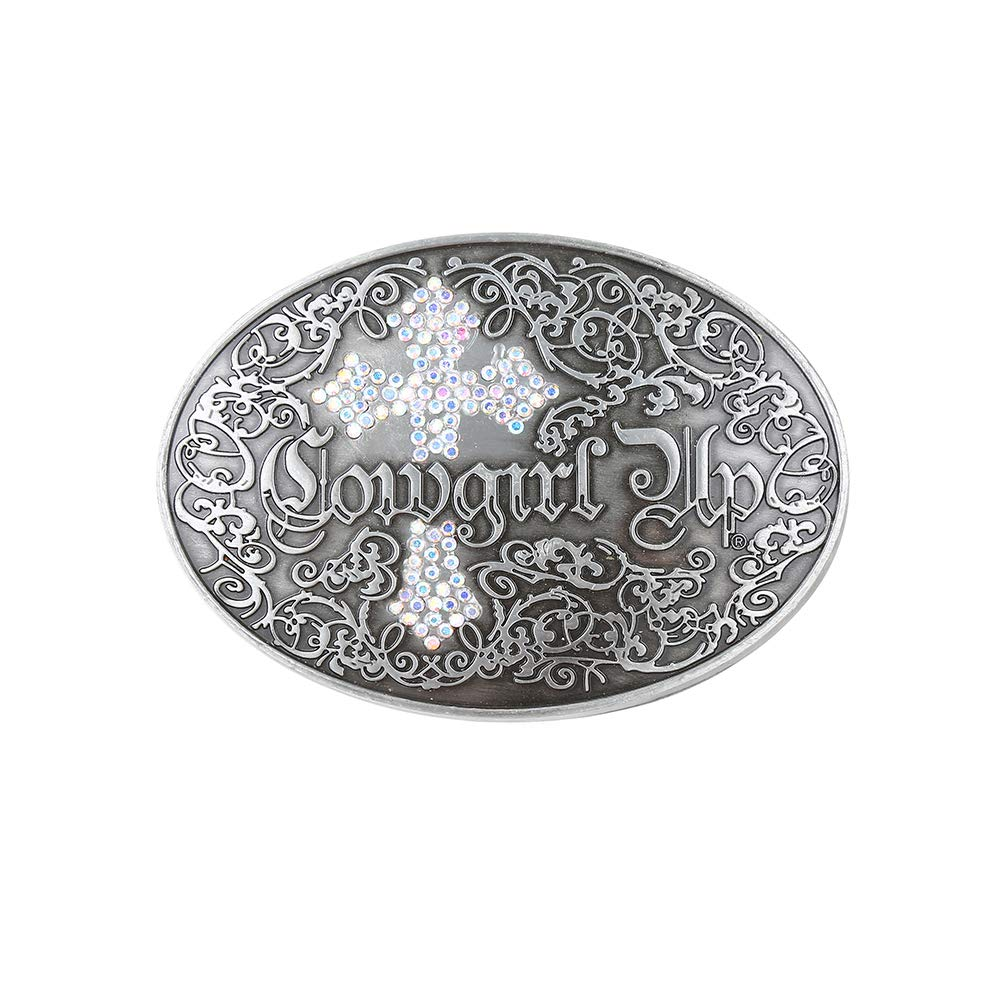 White Cross Rhinstone Belt  Buckle For Woman Western Cowboy Buckle Without Belt Custom Alloy Width 4cm