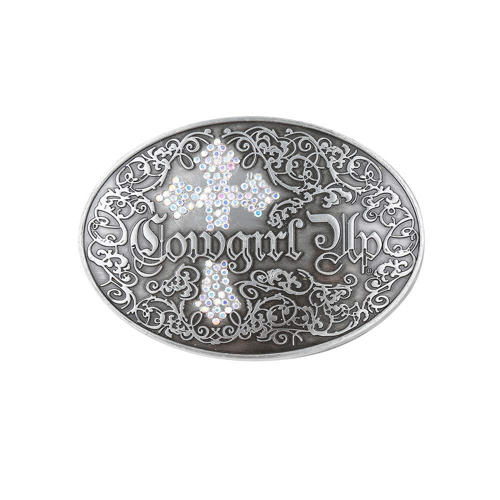 White Cross Rhinstone Belt  Buckle For Woman Western Cowboy Buckle Without Belt Custom Alloy Width 4cm