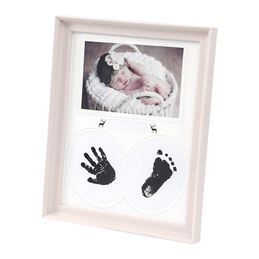 Birthday Footprint PVC Bedroom Photo Frame Home Decor Gift Ink Pad Newborn Baby Handprint Pictures Wall Kid Hanging