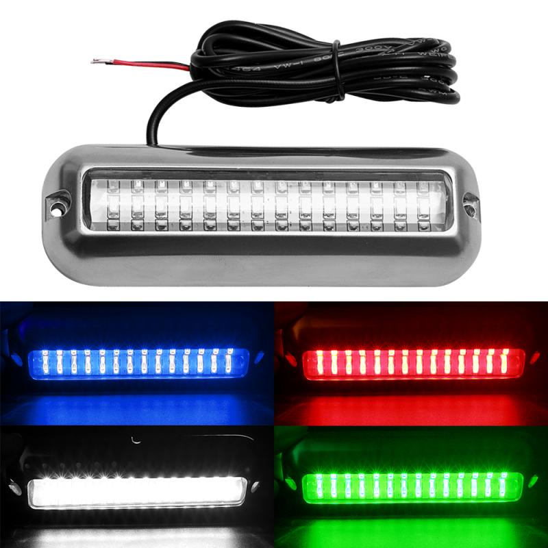 Underwater Boat Transom Light 42 LED Stainless Steel Under Water Pontoon Waterproof Lamp Marine Hardware Boat Yacht PTCS