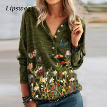 New Fashion Butterfly Floral Print Shirt Blouse Women Autumn Elegant Long Sleeve Tops Female Casual Button V Neck Pullover Blusa