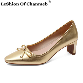 France Style Soft Cow Leather Heels Women Pumps Office Career Party Wedding Shoes Woman Ladies Sweet Bow-tie High Heels Pumps 43
