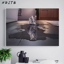 Cat Tiger Reflection Animal Funny Poster Simple Canvas Art Print Motivational Paiting Wall Picture for Living Room Decoration(China)