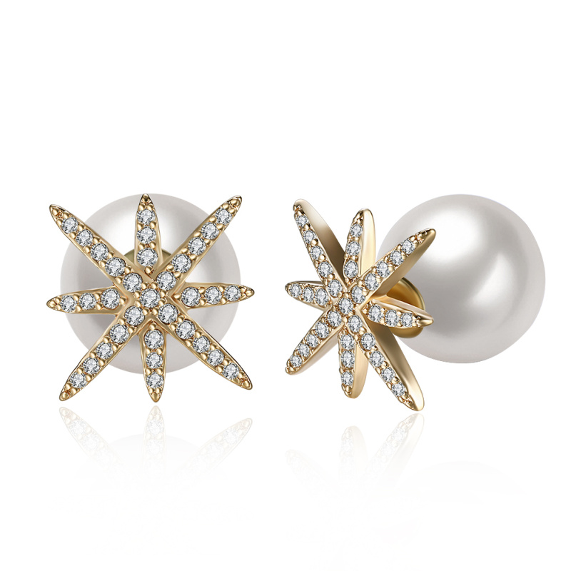 Brand designer Gold White Pearl stud Earrings for women lady Wedding Party gift Fashion Jewelry E2092