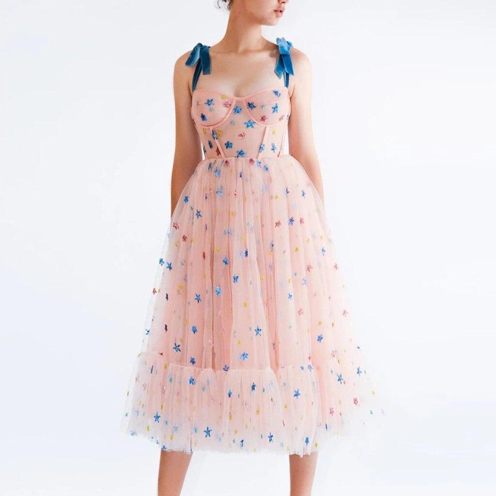 Summer Dress Women Strawberry Pink Mesh Maxi Dress Sweet Dresses Short Puff Sleeve