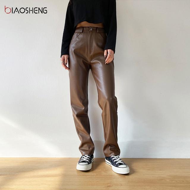 Faux PU Leather Pants For Women Trouser High Waist Straight Leg Pants Fashion Brown Casual Vintage Leisure Pants Streetwear 2