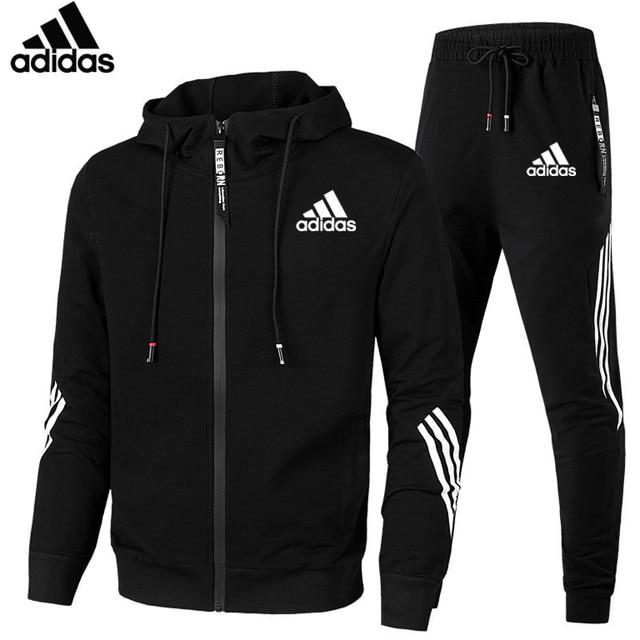 Adidas brand  Men Fashion Set Casual Sportsuit Men Hoodies/Sweatshirts Sportswear Zipper Coat+Pant Tracksuit Men Brand Clothing