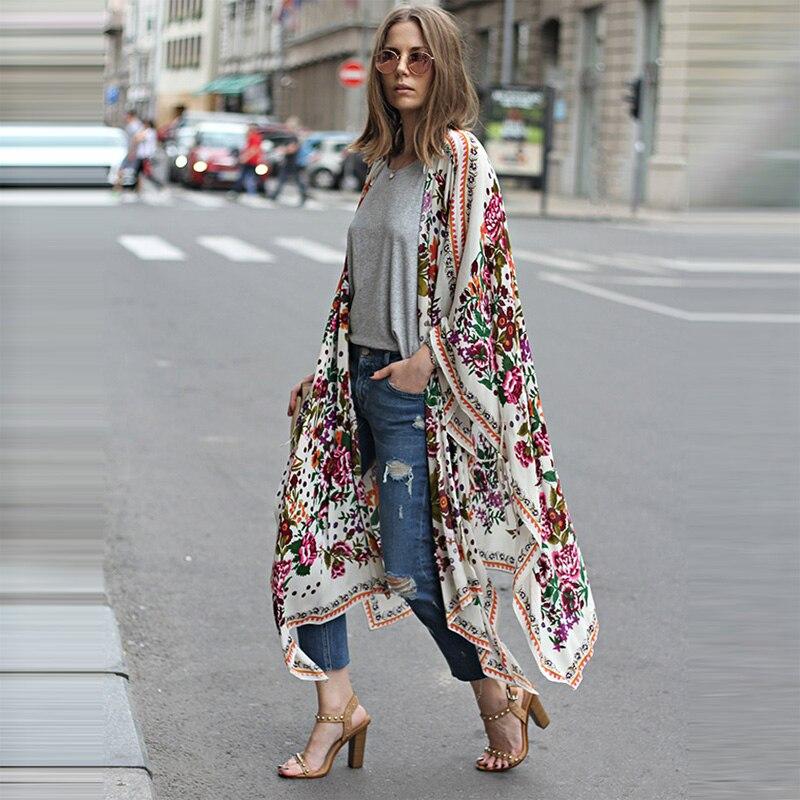 Mulheres chiffon quimono cardigan floral leopardo impressão assimétrica boho outerwear 2020 verão longo quimono plus size 3xl 5xl capa ups