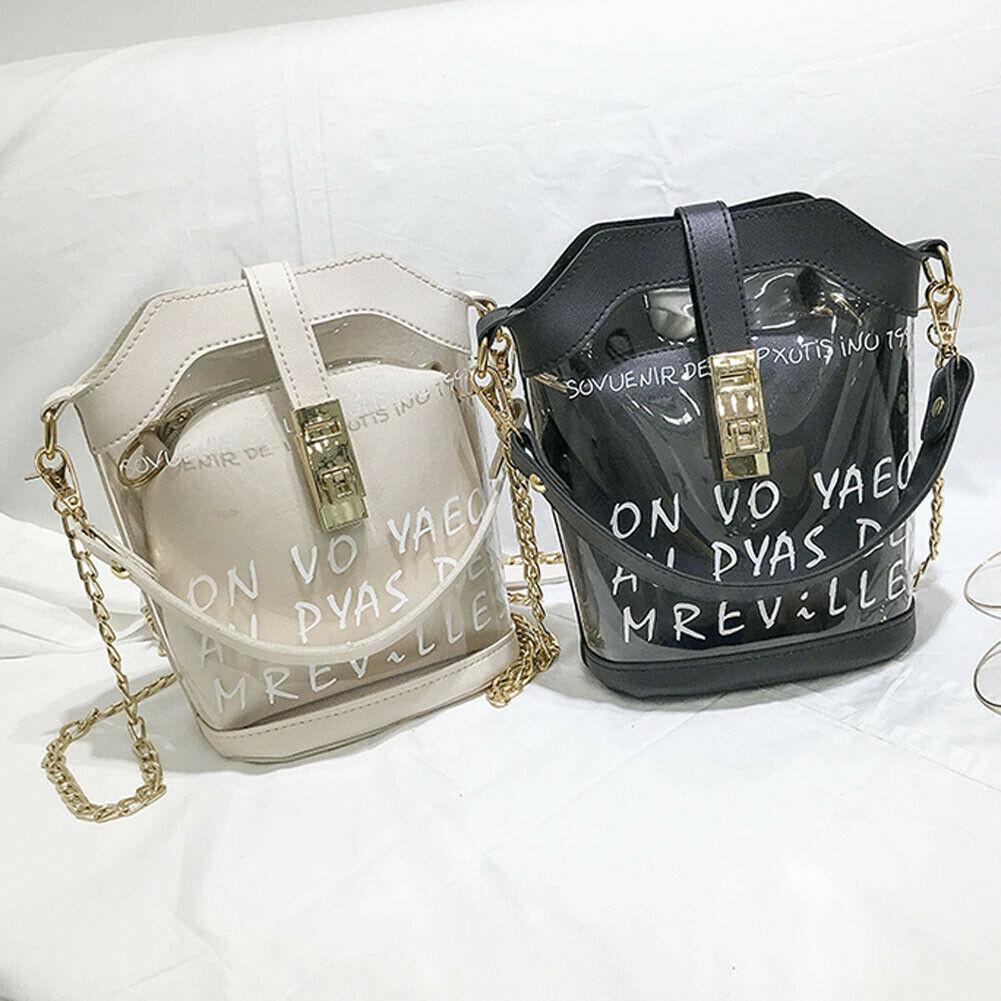 New Style Women Clear Transparent Chains Lock Handbag Messenger Composite Bag Lady Jelly Purse Clutch PVC Tote Bag 2019