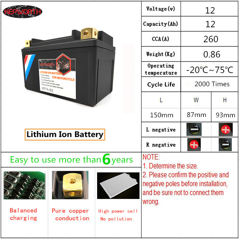 KP7A-BS Motorbike LiFePO4 <font><b>Battery</b></font> 12V 7Ah CCA 260A <font><b>Lithium</b></font> iron <font><b>Motorcycle</b></font> Start <font><b>Battery</b></font> <font><b>with</b></font> <font><b>BMS</b></font> Voltage Protection 2000 Times image