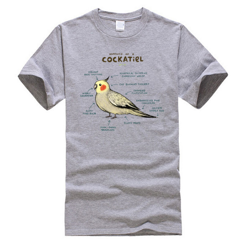Cotton Young Short Sleeve Anatomy_of_a_Cockatiel_140 T-Shirt Custom Tops Shirts Hot Sale Casual Round Collar Sweatshirts Anatomy_of_a_Cockatiel_140 grey