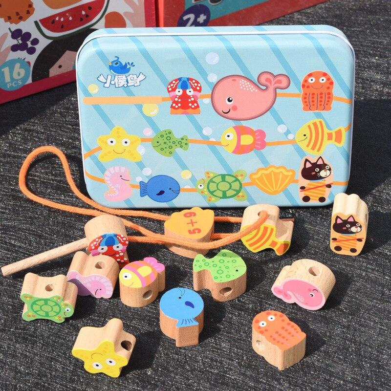 Bead Toy Cartoon Iron Box Beads Threading Bead-stringing Toy Children Building Beaded Bracelet Baby Toy 1-3 Years Old