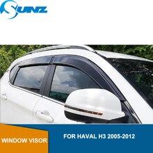 цена на Window Visor deflector Rain Guard For Haval H3 2005 2006 2007 2008 2009 2010 2011 2012 Sun Shade Awnings Shelters Guards SUNZ