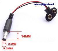 DHL/EMS 200pc 9V 14mm X 5.5mm X 2.5mm DC 전원 플러그 배터리 버튼 Cable-A8
