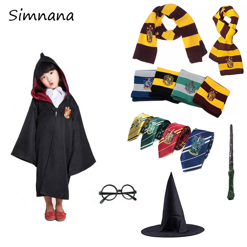 Potter Gryffindor Uniform Hermione Granger Magic Cloak Potter Cosplay Costume Kids Adult Version Halloween Party Birthday Gift