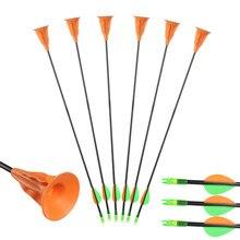 Toparchery 6/12/24 pçs 60cm otário setas od 6mm de fibra vidro setas para jovens crianças iniciante prática ao ar livre arco tiro com arco