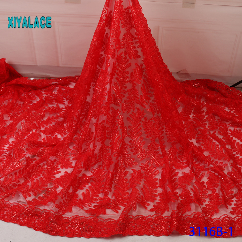 French Sequins Lace Fabric Women Wedding Dress African Lace Fabric 2019 High Quality Lace African Tulle Lace Fabric YA3116B-1