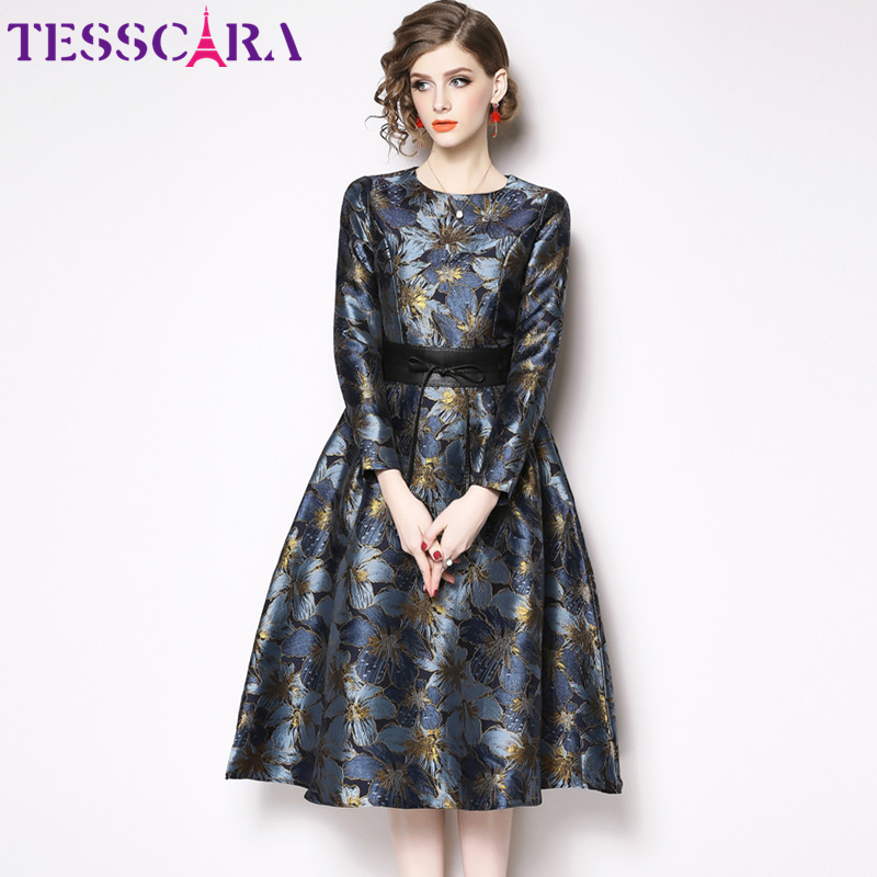 TESSCARA Women Elegant Luxury Jacquard Dress Female Vintage Designer Event Party Vestidos High Quality Long Office Retro Robe
