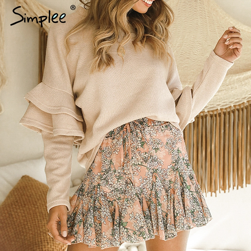 Simplee Elegant Knitted Women Lace Loose Sweater Long Sleeve Casual Jumper Female Sweater Autumn Winter Fashion Pullover Sweater