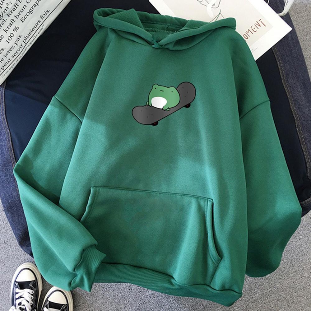 Толстовка Женская зимняя с принтом, модный плотный пуловер с капюшоном, розовый топ с рисунком лягушки для скейтборда, Ins свитшот, дешевая свободная одежда|Толстовки и свитшоты| | АлиЭкспресс