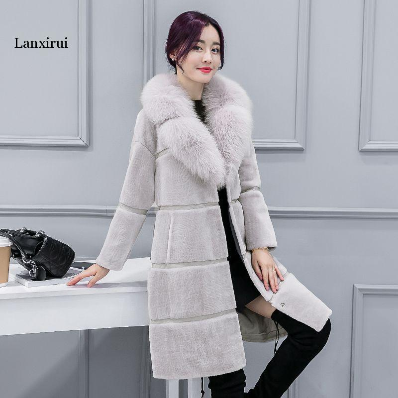 Women's Fur Coats  Faux Fox Fur Collar Winter Fashion Gray Faux Fur Coat Women Elegant Fur Jacket Thick Warm Outerwear