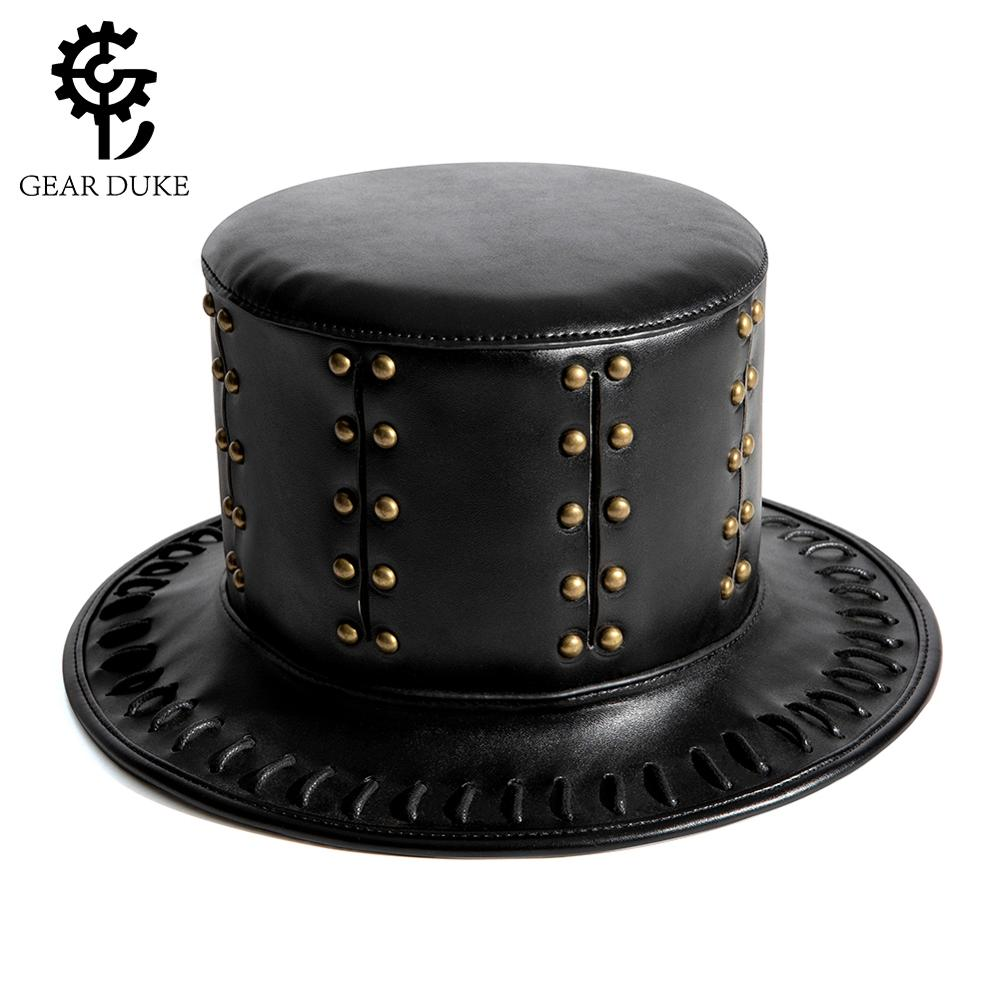 Gear Duke Steampunk Hat PU Leather Top Hat Victorian Male Millinery Traditional Magic Magician Caps