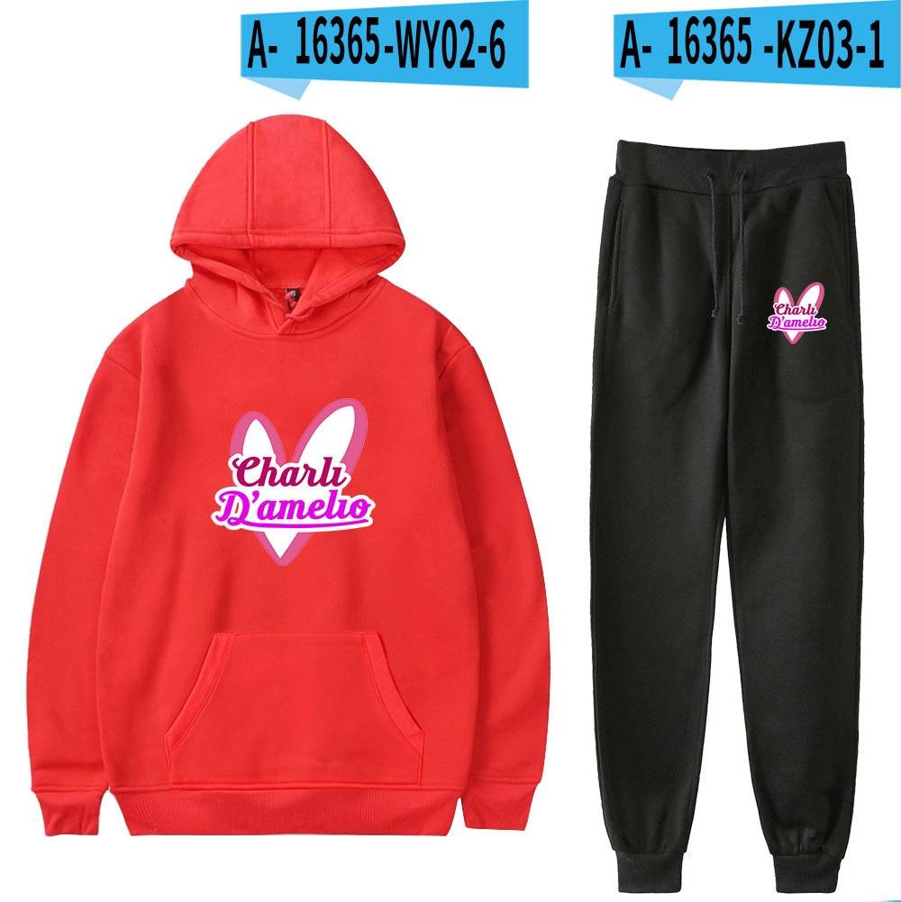 Hot sale Charli Damelio Merch Kpop Tracksuit Hoodies Sweatpants Suit Men Women Casual Sport Sets Streetwear 2Pcs Sweatshirt