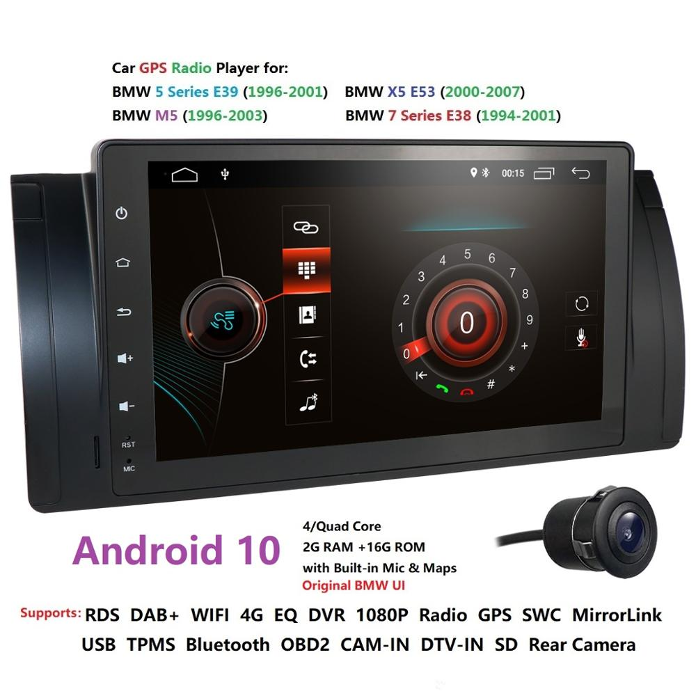 HIZPO 9 inch Android 10.0 1024x600 HD Touch Screen Car Multimedia Radio Stereo for BMW E39 <font><b>E53</b></font> X5 Wifi Bluetooth DVR Cam IPS DSP image