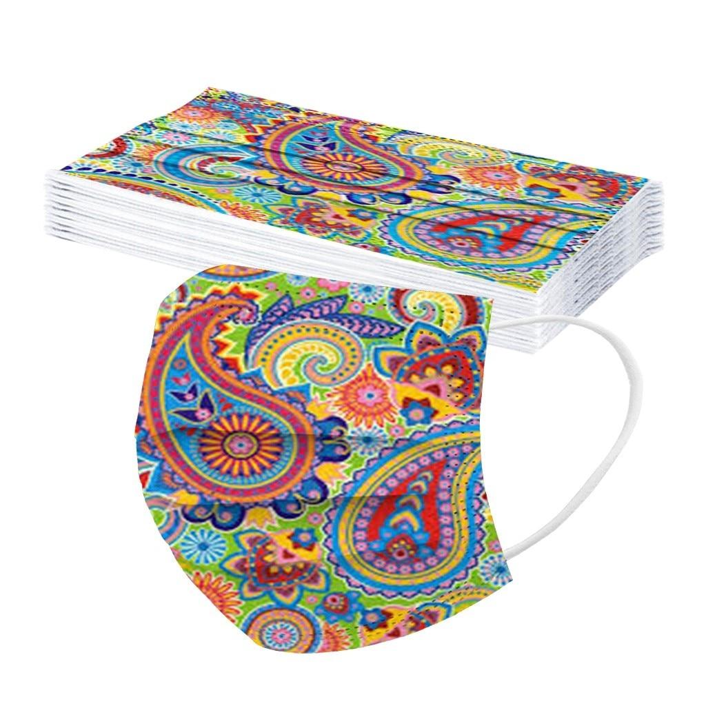 10 шт. одноразовые маски для взрослых с цифровым цветочным принтом трехслойная Защитная дышащая маска Пылезащитная Крышка для ушей|Женские маски|   | АлиЭкспресс