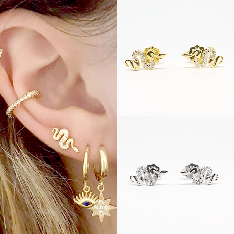 Women's Punk Style Animal Snake Earring 100% 925 Sterling Silver Snakelike Pendant Stud Earrings For Women A30