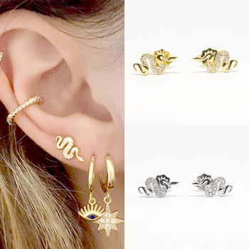 Women s Punk Style Animal Snake Earring 100 925 Sterling Silver Snakelike Pendant Stud Earrings for.jpg 350x350 - Women's Punk Style Animal Snake Earring 100% 925 Sterling Silver Snakelike Pendant Stud Earrings for Women A30