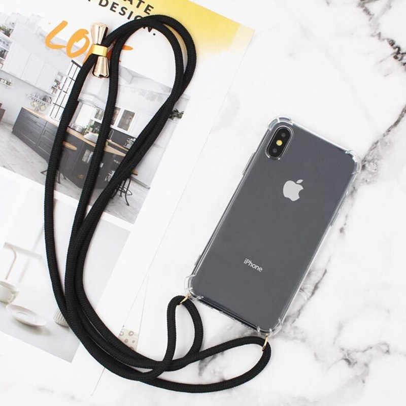 Transparent Clearเคสโทรศัพท์Crossbodyสร้อยคอLanyardเชือกสำหรับIphone 6 6S 7 8 Plus X XR XS 11 Pro Max