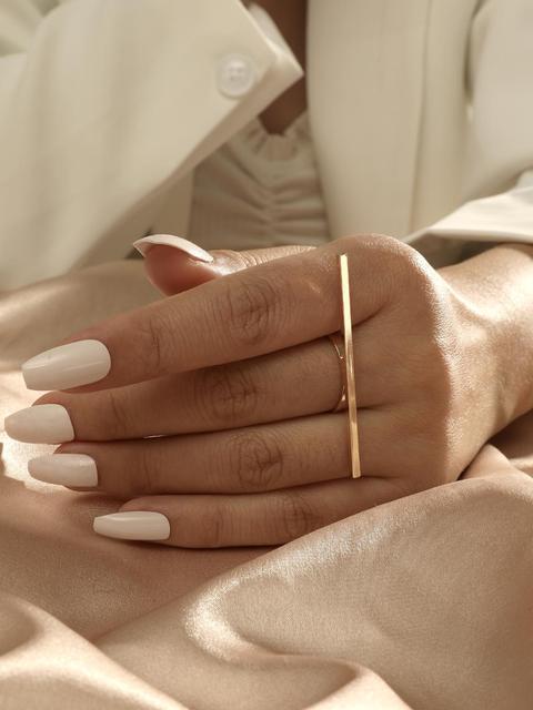 MANGOSKY 18KGP Fashion Long Square Bar Ring For Women 5