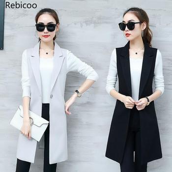 Elegant Suit Vest Women Spring Summer Sleeveless Long Jacket Colete Plus Size 3XL Blazer Coat Waistcoat
