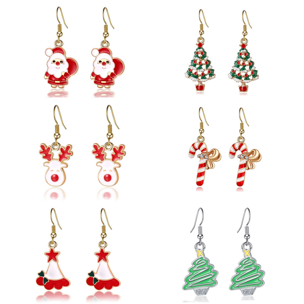 <font><b>Christmas</b></font> Earrings Pendant Women Charm Long Earrings Girls Xmas Decor Female Jewelry Accessories Hook Paired Xmas Party Gifts image