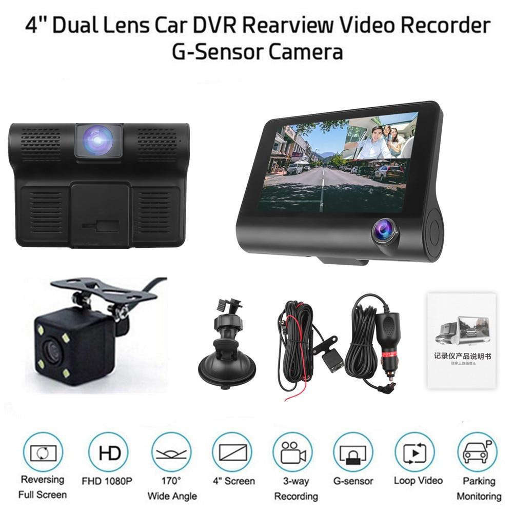 Автомобильный видеорегистратор с тройным циклом записи, 1080P, 3 объектива, видеорегистратор, видеорегистратор с ночным видением, 12 В, с камеро...