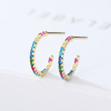 Fine 925 steling silver inlay Gold colorful micro pave cz zircon C shape Stud earrings for women jewelry girl christmas gift