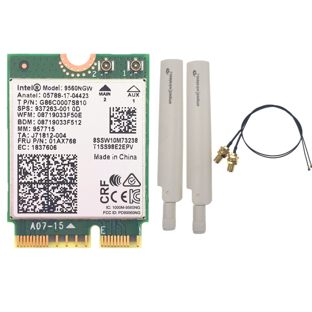 Wifi Card+ Antenna Set For Intel Dual Band AC 9560 9560NGW 9560AC 1.73Gbps NGFF Key E Wifi Card 80211ac BT5.0 For Windows 10