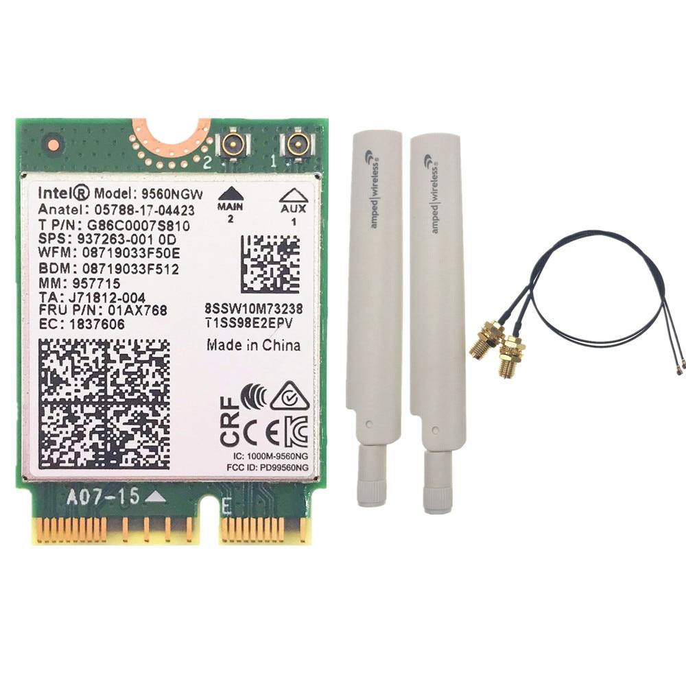 Wifi Card+ Antenna Set For Intel Dual Band AC 9560 9560NGW 9560AC 1.73Gbps NGFF Key E Wifi Card 80211ac BT5.0 For Windows 10